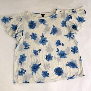 Ann Taylor Linen Flutter Sleeve Top Blue Flowers M